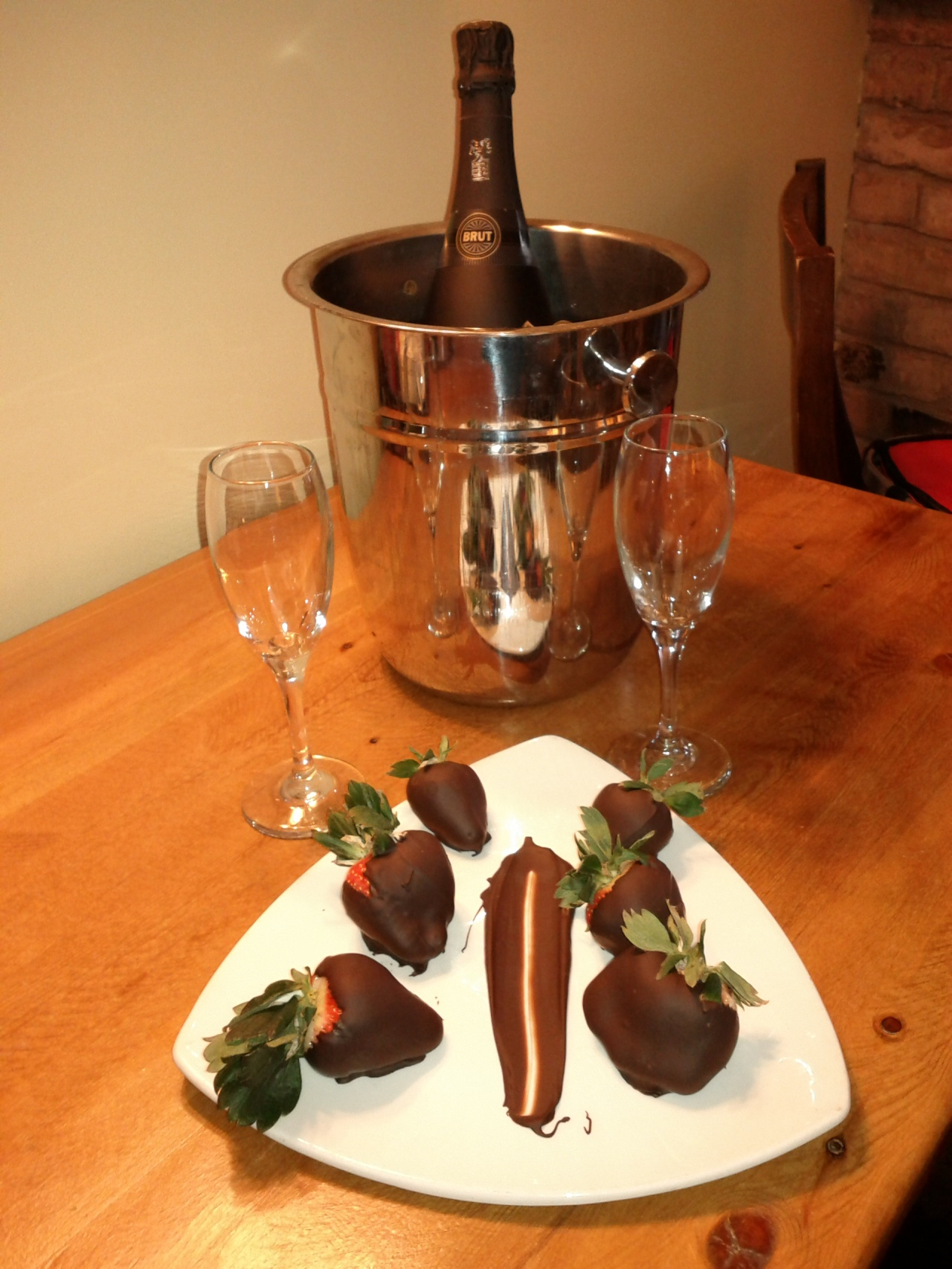 Chocolate-dipped strawberries and champagne at the Georgetown Inn in Canmore